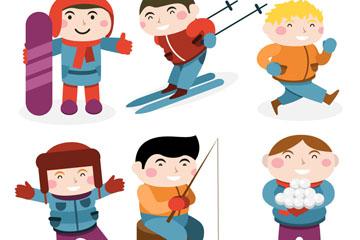 6款冬季运动男孩情景设计矢量素材