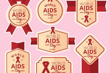 7款红色国际艾滋病日标签矢量图