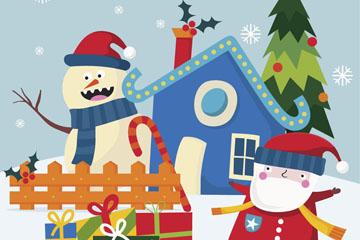 可爱冬季圣诞老人和雪人礼物矢量