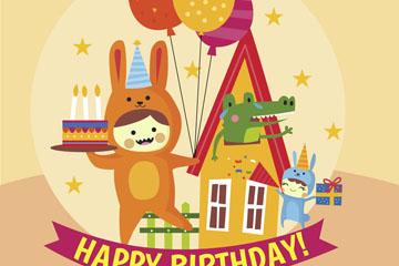 可爱兔子装儿童生日贺卡矢量图