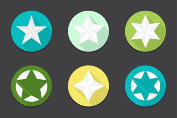 9款圆形星星图标矢量素材