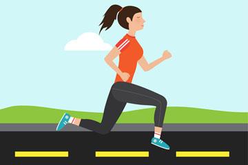 创意跑步健身的女子矢量素材