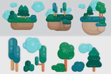 11款创意树木与土地设计矢量素材