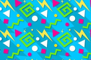 彩色闪电和三角形无缝背景矢量图