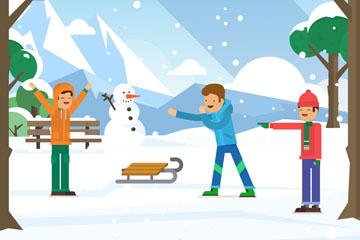 冬季雪地玩耍的3个男孩和雪人矢量图