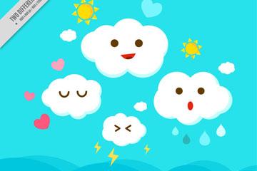 4个可爱卡通云朵设计矢量图