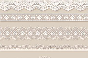 5款白色蕾丝花边和2只蝴蝶矢量图