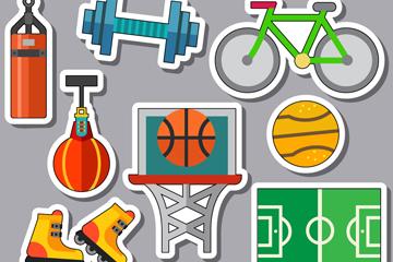 12款彩色体育用品贴纸矢量图