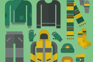 12款扁平化冬季服装配饰矢量图