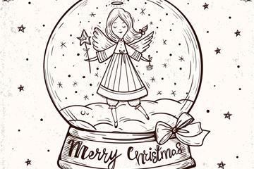 手绘圣诞节天使雪花水晶球矢量图