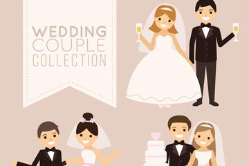 3对卡通婚礼新人设计矢量素材