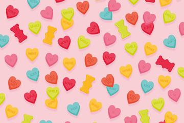 彩色爱心糖果无缝背景矢量素材