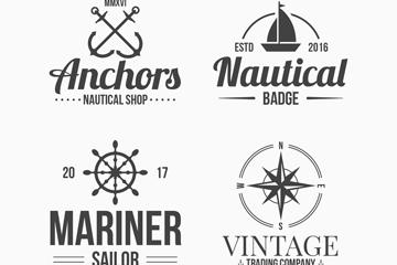 4款复古航海徽章矢量素材