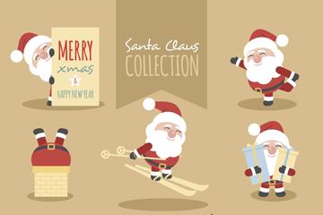 8款卡通圣诞老人和驯鹿矢量素材
