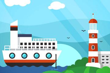 创意海上游轮和灯塔矢量素材