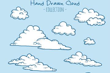 9款彩绘云朵设计元素矢量素材