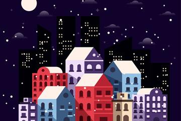 冬季雪中的夜晚城市建筑矢量素材