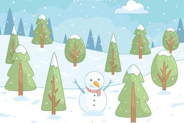 冬季雪人和树木矢量素材