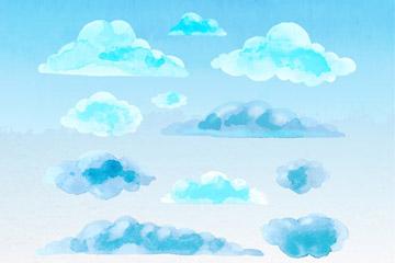 11款蓝色水彩绘云朵矢量图