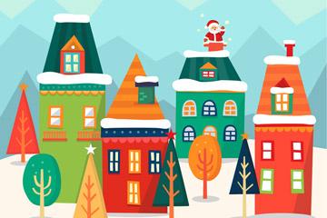 可爱钻烟囱的圣诞老人和彩色房屋矢量图
