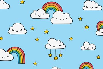 卡通彩虹和云朵无缝背景矢量图