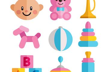 9款扁平化婴儿用品矢量素材