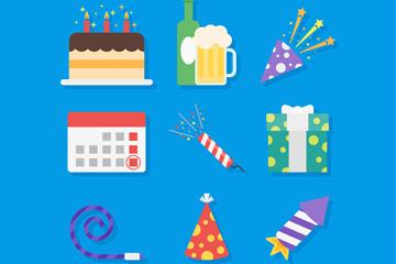 9款创意新年派对元素矢量图