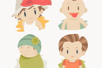 4款卡通男孩头像矢量素材图