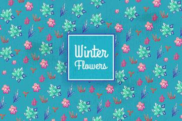 彩绘冬季花朵无缝背景矢量图