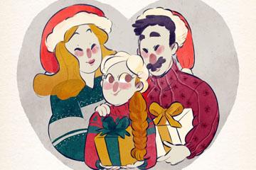 彩绘圣诞节三口之家矢量素材
