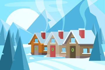 3个创意雪原冒炊烟的房屋矢量素材