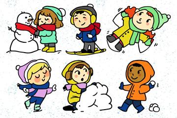 6款可爱冬季玩耍儿童矢量素材
