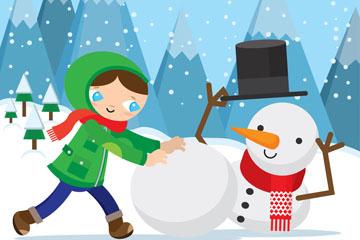可爱滚雪球的女孩和雪人矢量素材