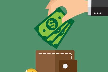创意向钱包里放美元的手臂矢量图