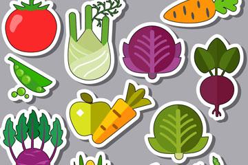13款彩色常见蔬菜贴纸矢量素材