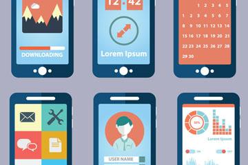 6款创意手机应用程序界面矢量素