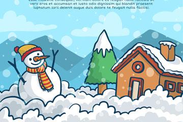 冬季雪人和房屋设计矢量图