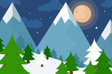 冬季夜晚雪山与森林风景矢量图
