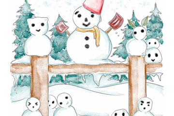 彩绘郊外的10个雪人矢量素材