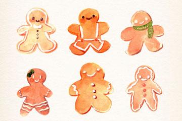 6款水彩绘姜饼人矢量素材