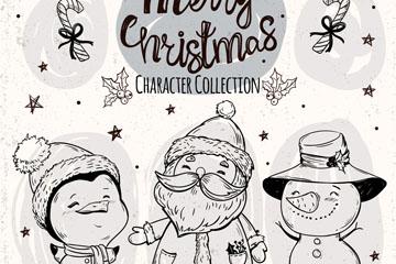 3个手绘圣诞节角色矢量素材