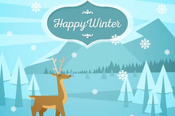 冬季野外森林和鹿风景矢量图
