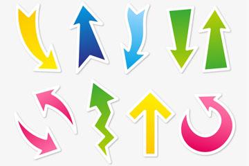 12款彩色箭头贴纸矢量图