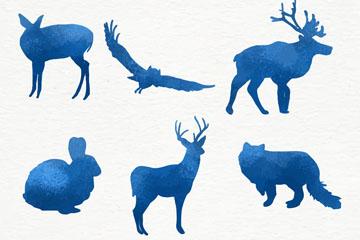 6款蓝色常见动物剪影矢量素材