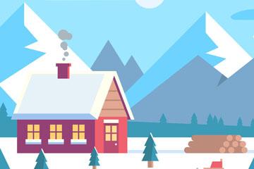 雪山下的木屋风景矢量素材