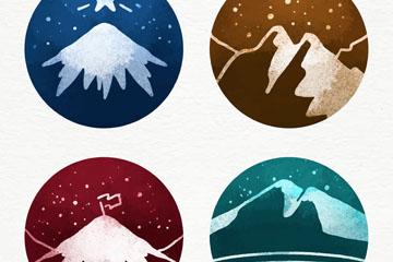 4款彩绘圆形雪山标签矢量素材