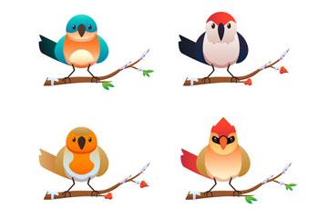 4款冬季站在树枝上的鸟矢量素材