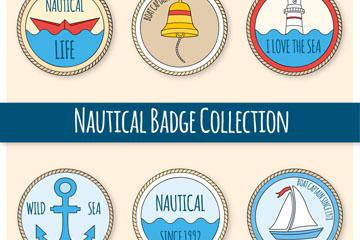 6款彩绘航海徽章矢量素材
