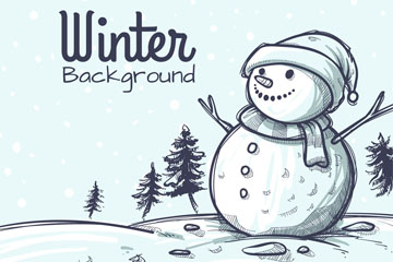 手绘冬季郊外雪人矢量素材