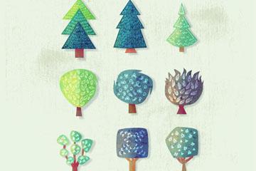 9款手绘扁平化树木设计矢量图